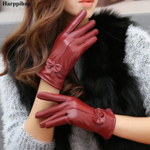 2019 women's genuine leather gloves red sheepskin gloves autumn and winter fashion female windproof gloves