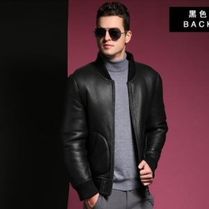 Free shipping.Plus size genuine leather Jacket,men's natural shearling jackets.Classic MA1 Bomber Pilot coat,winter warm wool