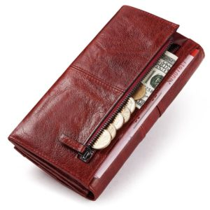 KAVIS Genuine Leather Women Clutch Wallet and Female Coin Purse Portomonee Clamp For Phone Bag Card Holder Handy Passport Holder