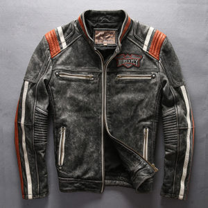 Read Description! Asian size mans genuine cow leather rider jacket vintage embroidery leather motorcycle cowhide leather jacket
