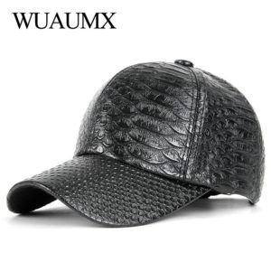 Wuaumx NEW PU Leather Baseball Cap For Men Women Spring Summer Faux Leather Hip Hop Snapback Cap Silver Fitted Hats casquette