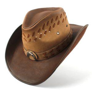 100% Leather Men Western Cowboy Hat For Dad Gentleman Sombrero Hombre Jazz Caps Size 58-59CM