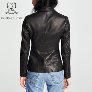 Black sheepskin genuine leather jacket women coat motorcycle clothing Turn-down Collar female sexy slim OL office zipper Jackets