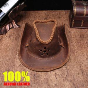 Brand high quality Genuine Leather cowboy hat men/women crazy-horse leather manual Leather cap Wear-resistan Equestrian sun hat
