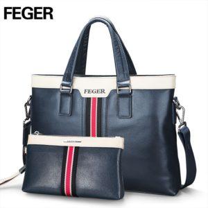FEGER Fashion Leather Men Handbag Business Shoulder Bag Genuine Leather Messenger Bags Computer Laptop Handbag Bag Free Shipping
