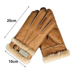 Genuine Leather Fur Gloves Fashion Men Winter Autumn Thermal Sheepskin Snow Mittens Outdoor Five Finger Wrist Gloves