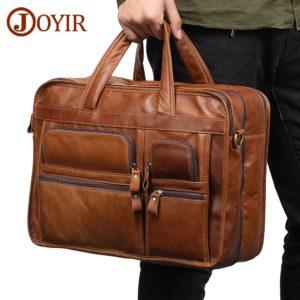 JOYIR Genuine Leather Men Briefcases Laptop Casual Business Tote Bags Shoulder Crossbody Bag Men's Handbags Large Travel Bag