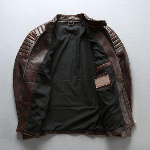 Men Vintage Leather Jacket Men Cowhide Jackets Brown / black Calfskin Motor Biker Coat Man Leather Coat Slim
