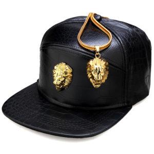 NYUK Metal Gold Lion Head Logo PU Leather Baseball Cap Casual Unisex Belt Buckle Hip Hop Rap 5 Panel Sun Snapback Hats Men Women