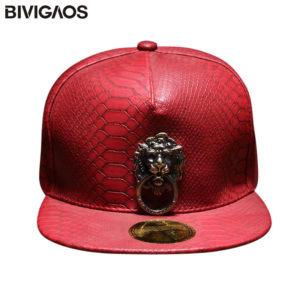 New Metal Sculpture Lion Head Snapback Hats Snakeskin Leather Hip Hop Cap Men Punk Style Baseball Caps For Men Women Black Red