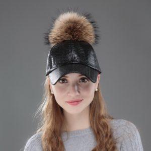 OHCOXOC women fashion winter baseball cap with mink fur pompom Snakeskin pattern Pu leather new fashion woman winter hats
