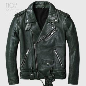 Vintage style men green genuine leather lambskin tanning leather Motorcycle jacket coat cuff zipper jaqueta de couro LT2455