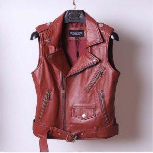 Women's branded genuine leather vest coats ladies natural sheepskin jackets turn-down collar black red plus oversized 2xl xxxxl
