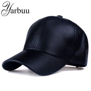 [YARBUU] CAP 2017 new Hot and winter PU Leather Baseball Cap Biker Trucker snapback Hats For Men women caps free shipping
